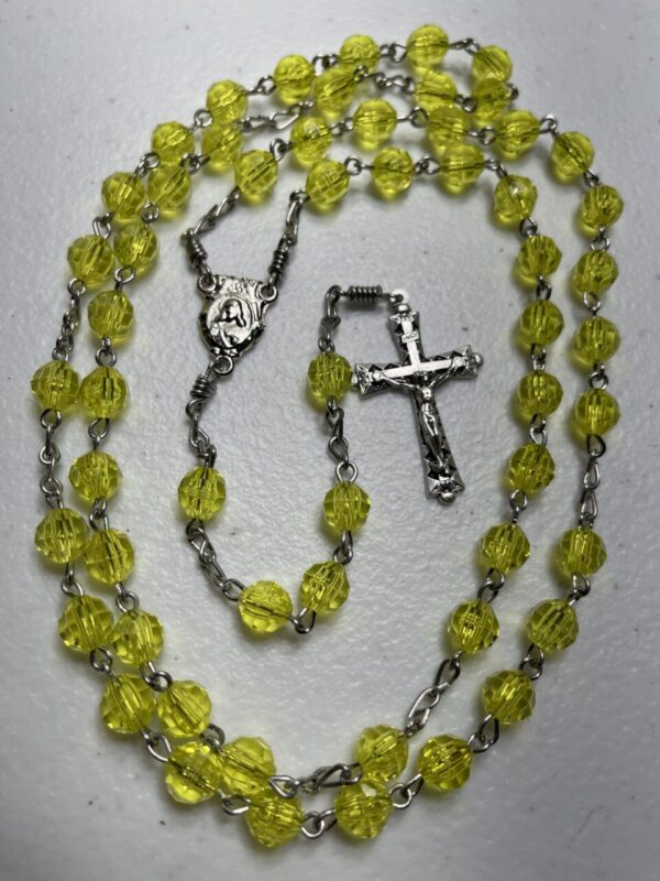 Handmade yellow acrylic rosary