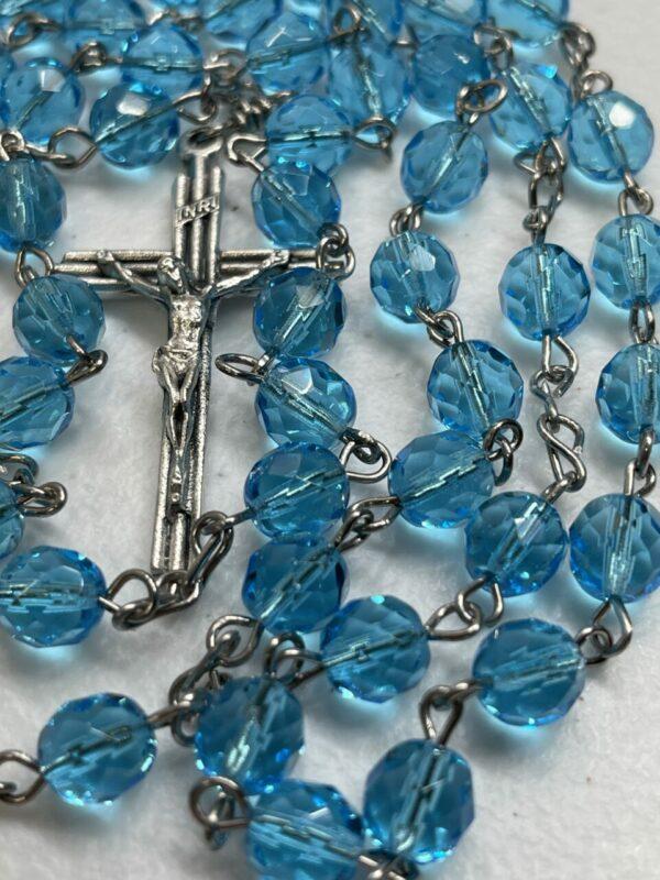 Handmade turquoise glass beaded rosary