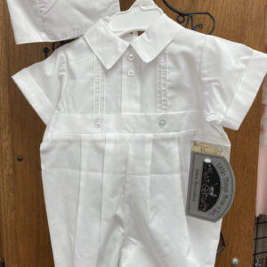 Baptism/Christening short sleeved, long pants, matching bonnet outfit