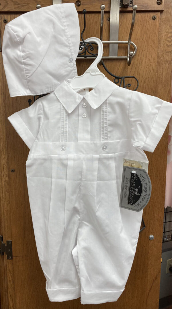 Baptism/Christening short sleeved, long pants, matching bonnet outfit