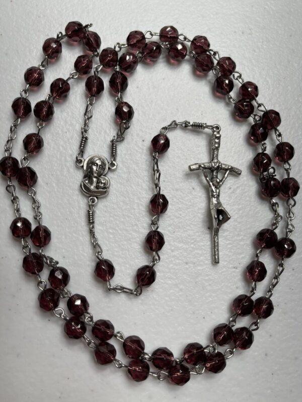 Handmade dark purple glass beaded rosary
