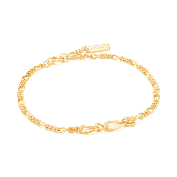 Ania Haie Sterling Silver Yellow Colored Figaro Chain Bracelet