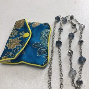 Handmade women's iridescent blue and silver necklace