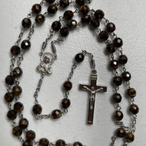 Handmade tiger eye glass rosary