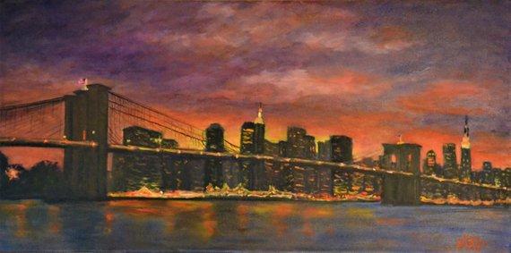 Brooklyn Bridge Oil Painting by Chris Robbins