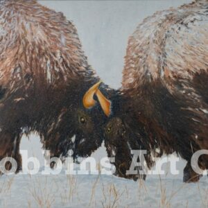 Bison Duo Oil Painting by Chris Robbins