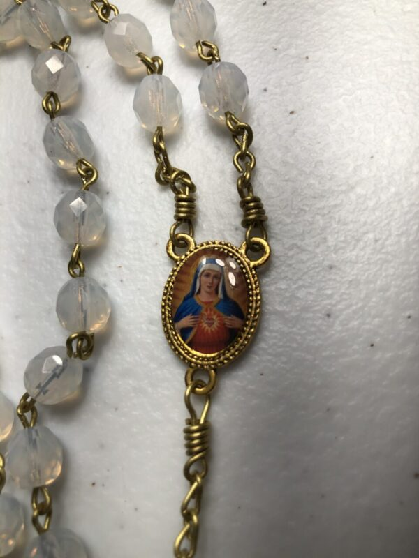 Handmade White opal glass beaded rosary