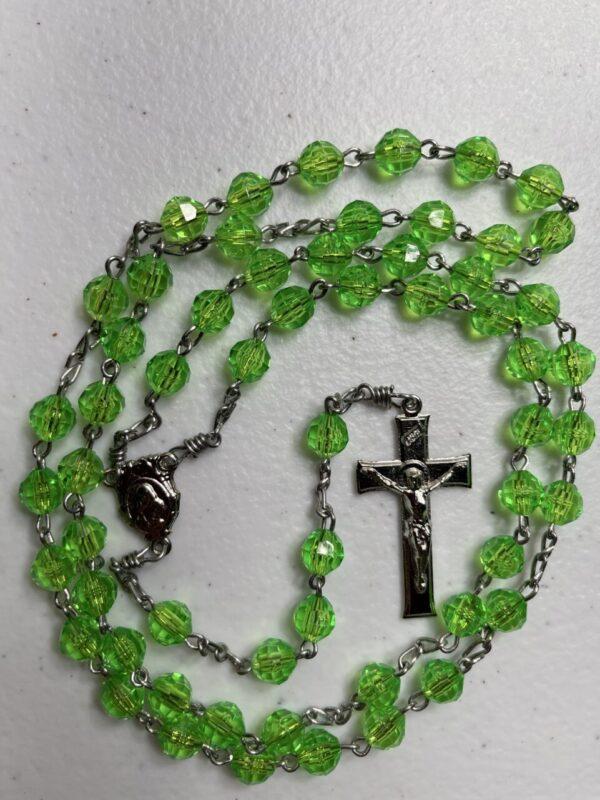 Handmade bright green acrylic rosary