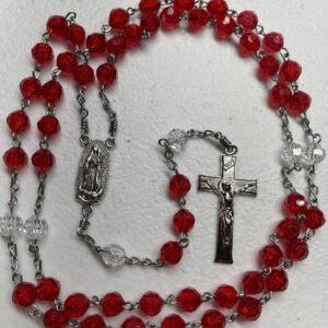 Handmade red and clear acrylic rosary