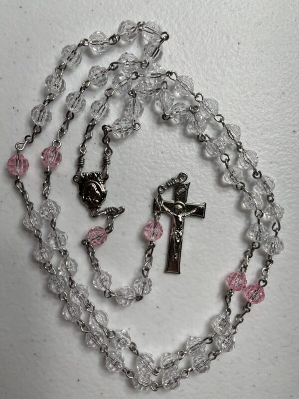 Handmade clear and pink acrylic rosary