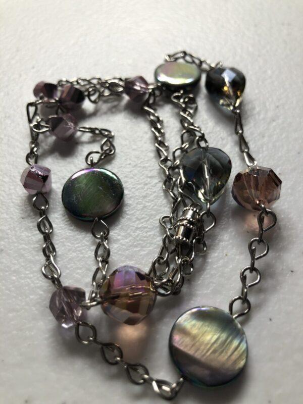 Handmade women's purple iridescent glass necklace