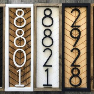 Vertical Herringbone House Number Sign