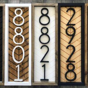 Vertical Herringbone House Address Number Sign