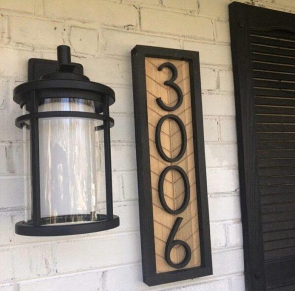 Vertical Herringbone House Number Sign