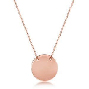 Rose Colored Sterling Silver Engravable Disc and Necklace
