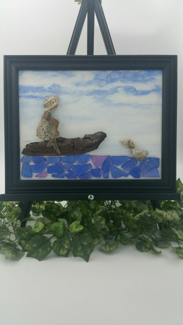 """""""Lady In The Boat"""" Stone Art By Cindy Moss"""