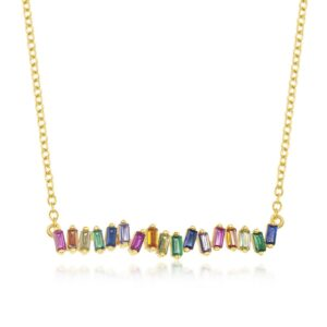 Classic of NY Rainbow Baguette CZ Bar Necklace