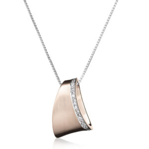 Bentelli Lady's Rose Colored Sterling Silver Pendant with Necklace