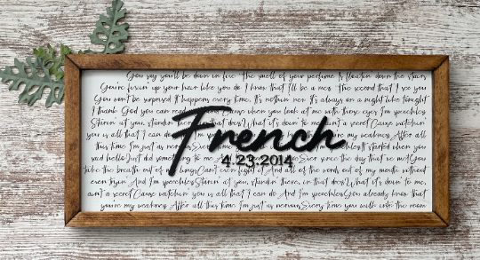Wedding Vow/Song Lyric Wedding/Anniversary Gift Wood Sign