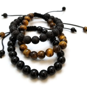 Lava rock, Tiger's Eye, and Agate Natural Stone Adjustable Bracelet set – fits both men and women