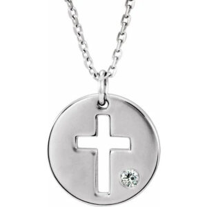 Diamond and sterling silver disc cross necklace