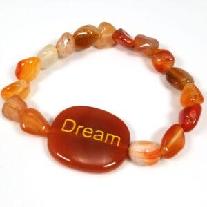 "Orange carnelian agate gemstone ""Dream"" bracelet"