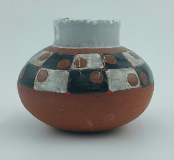 Checkered Clay Pot By Bill Ball