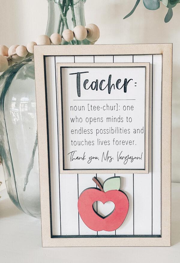 Personalized Teacher Appreciation Sign