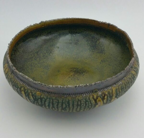 Large Clay Bowl with Textured Edge by Bill Ball
