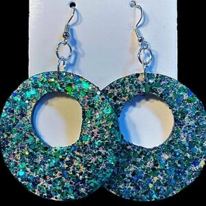 Teal & Blue Multicolored Bling Earrings