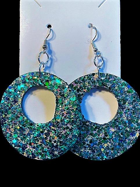 Teal & Blue Multicolored Bling Earrings