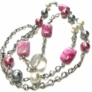 Handmade pink glass beaded necklace