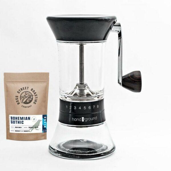 Handground – Precision Manual Burr Grinder (Plus FREE 5oz bag of RSR coffee)