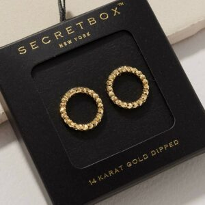 Textured Round Shaped Gold Dip Post Earrings
