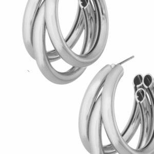 Silver Triple Hoop Earrings