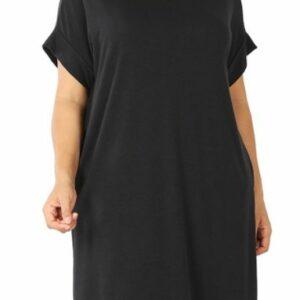 Black Rolled Short Sleeve Round Neck Dress