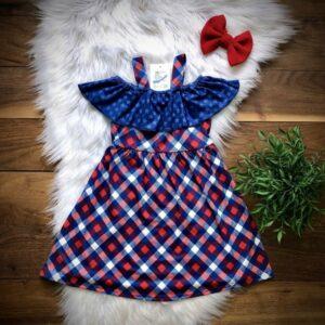 americana plaid cold shoulder dress