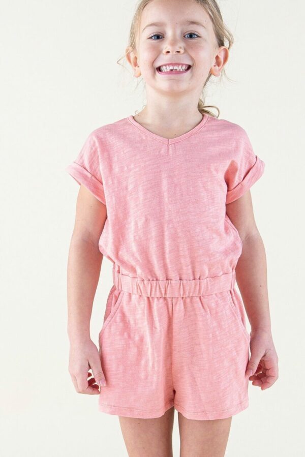 coral solid romper