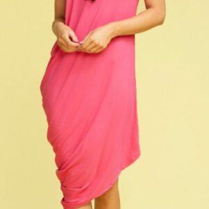 Pink Sleeveless Draped Dress