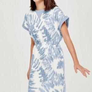 blue tie dye french terry dress