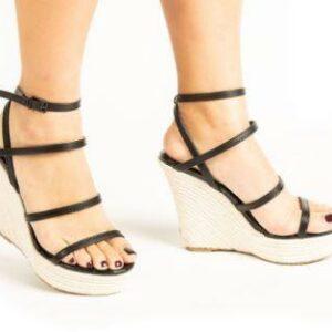 Black Strappy Wedge Sandals