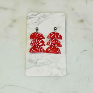 Red Paisley Tri Earrings