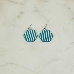Teal Stripe Hexy Earrings