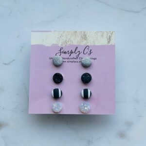 Black & Sparkle Mini Earring Pack