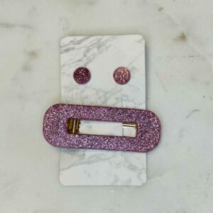 Lavender Barrette and Earring Set