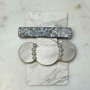 Pearl & Silver Barrette Set
