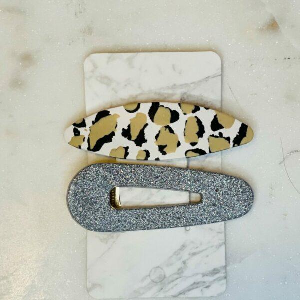 Cheetah & Silver Hair Clip Set
