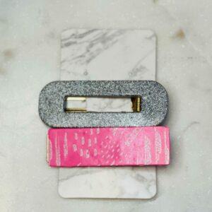 Pink & Silver Barrette Set