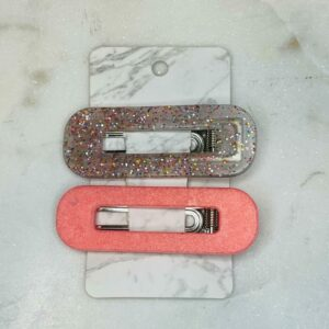 Peach & Glitter Barrette Set