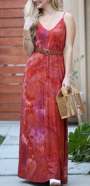 Red Tie-Dye Maxi